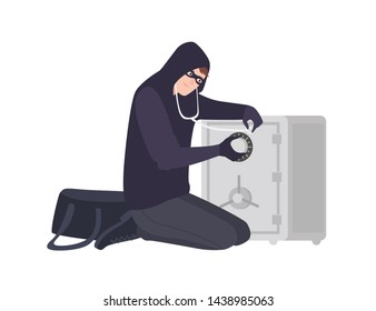 Male burglar wearing mask and hoodie using stethoscope to open safe or strongbox. Theft, burglary or housebreaking. Thief, burglar, criminal or outlaw. Flat cartoon colorful vector illustration.