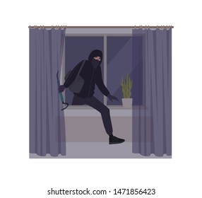 Male burglar wearing mask and hoodie breaking in house or apartment. Theft, burglary or housebreaking. Thief, burglar, criminal, housebreaker or outlaw. Flat cartoon colorful vector illustration.