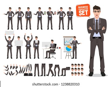 Male busines character vecor set. Cartoon character creation of business man standing and talking for business presentation wearing office attire with different pose. Vector illustration.