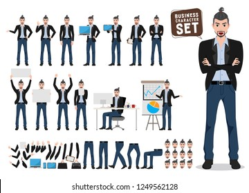 Male business character vector set. Artist or designer cartoon characters with different pose and holding white board for presentation. Vector illustration.