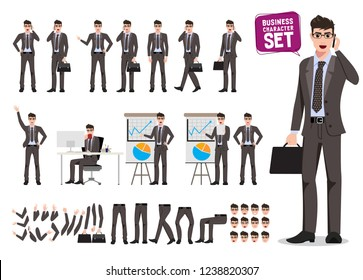 Male business characters vector set. Cartoon character creation of business man holding moblie phone and briefcase talking for presentation. Vector illustration.