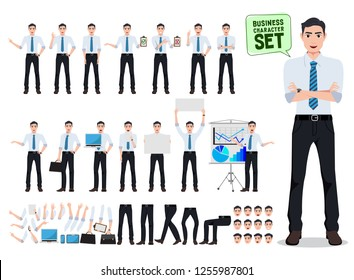 Male business person vector character creation set with office man talking in different gestures and postures for business presentation isolated in white. Vector illustration.