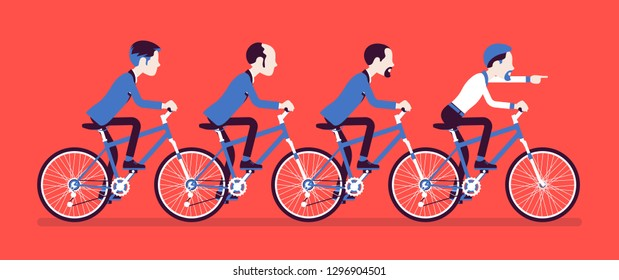 Male business tandem. Successful businessmen team riding together a bicycle in cooperation, agreement. Synchronization and professional togetherness metaphor. Vector illustration, faceless characters