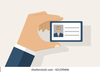 Male businessman holds identification card in hand. With permit. ID Card icon. Vector illustration, flat design style. Personal identification. Access control. Personal document in hand.