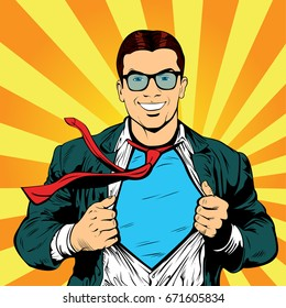 Male businessman superhero pop art retro vector illustration. Strong Businessman in glasses in comic style. Success concept. A grown man in a business suit.
