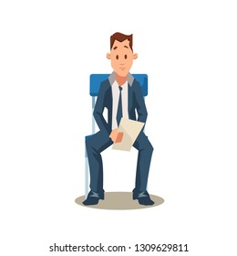 Male Candidate Sit on Chair before Job Interview. Vacancy. Office Recruitment. Employee Character in Formal Wear Hold Resume. Pensive Jobseeker Wait. Cartoon Flat Vector Illustration