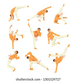 Male Capoeira Dancer or Fighter Character Practicing Movements Set, Brazilian National Struggle Vector Illustration