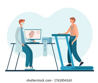 Male cardiologist in uniform and mask watching man walking on treadmill during stress test for heart in office of modern hospital
