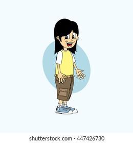 male cartoon character theme vector art illustration
