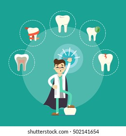 Male cartoon dentist in medical uniform and superhero cape holding dental pliers on green background with teeth round icons, vector illustration. Tooth care and restoration, treatment and hygiene