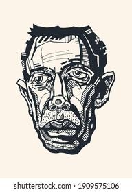 Male cartoon portrait, sketch style. Hand drawn design element. Vector illustration