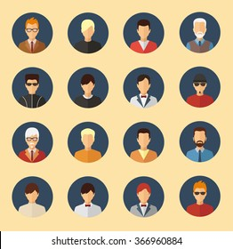 Male character avatars. Flat style people vector icons set