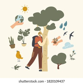 Male Character with Backpack Hugging Tree Bark. Unity with Nature, Save Planet and Ecology Protection Concept. Traveler or Environmentalist Enjoying Connection with Flora. Linear Vector Illustration