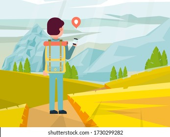 Male character backpacker travel around mountain place, man walking hike road flat vector illustration. People hand mobile phone and smartphone, use gps system online outdoor navigation.