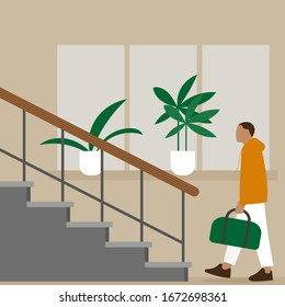 Male character with a bag in his hand goes to the stairs