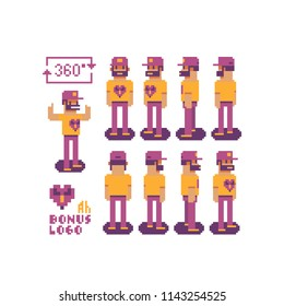 Male character with beard and a cap, pixel art character, rear view from the front and side. 360 degrees. Top down view. For game developers and motion graphics. Vector illustration. Looping sequence.
