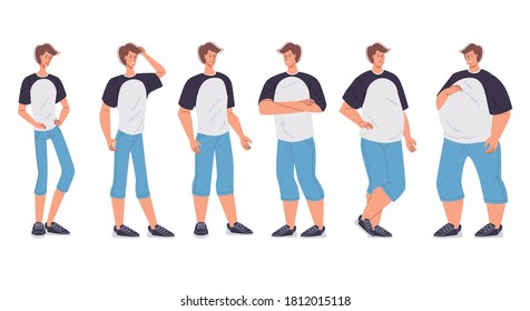 Male character body figure change form underweight slim to oversized extremely morbidly obese. Man having different body mass index, shape, weight, standing in row. Obesity degree. Dieting effect