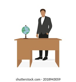 A male character in business attire stands near a desk with a globe