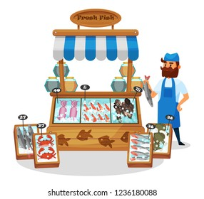 Male character, business person seller behind the fish counter, with seafood in ice. Exterior of fish street shop showcase, local farmers market, fresh sea food on shelves. Vector illustration.