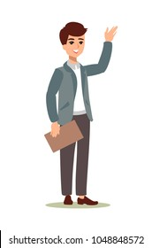 Male character. Businessman character. Animate persona. Different man postures. Vector personage.