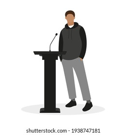Male character in casual clothes stands in front of a microphone on a white background