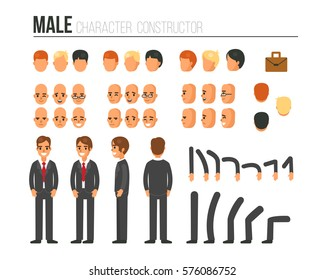 Male character constructor for different poses. Set of various men's faces, hairstyles, hands, legs. Vector illustration.