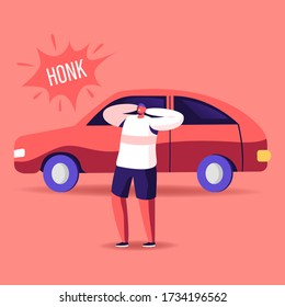 Male Character Cover Ears to Stop Hearing Car Honk, Loud Sounds and Tinnitus. Man Suffering of Noise Pollution. Big City Dweller Social Problem of Uproar and Din. Cartoon People Vector Illustration