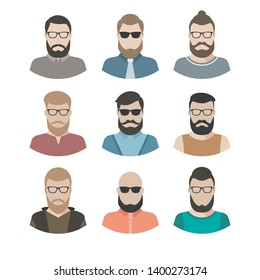 male character faces avatars. flat style vector people icons set