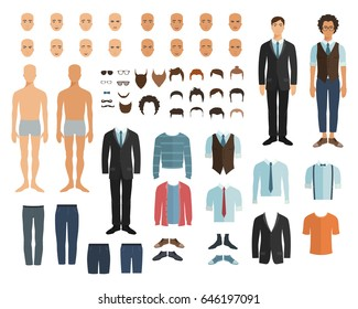 Male character in flat style. Constructor. Choose haircut, clothes and emotion. Vector illustration in flat style.