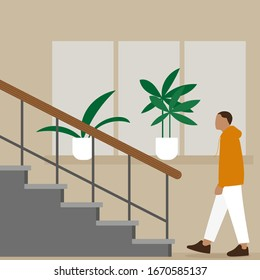 Male character goes to the stairs on the background of a wall with a window and flowers