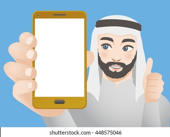 male character holding smart phone and good hand sign, vector illustration