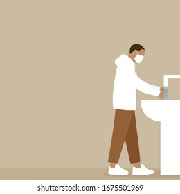 Male character in medical mask washes his hands