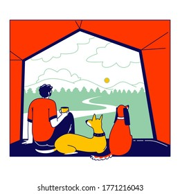Male Character with Pets Cat and Dog Sit inside of Camping Tent Enjoying Drinking Coffee and Scenic Landscape View. Tourist Travel with Home Animals, Summer Vacation Hiking. Linear Vector Illustration