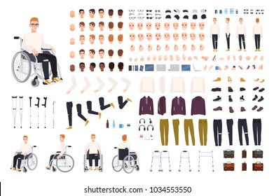Male character with physical disability sitting in wheelchair creation set or constructor. Set of disabled man body parts, gestures, clothing isolated on white background. Cartoon vector illustration.