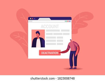 Male Character Push Deactivation Button Delete Social Account. Tiny Man at Huge Network Web Page Deleting Online Private Information in Internet, Cancellation Concept. Cartoon Vector Illustration