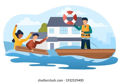 Male character is saving people in the flood. Scared people in flooded suburb street. House floating on water.Concept of natural flood disaster, tsunami, emergency. Flat cartoon vector illustration