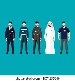 male character set with different working outfits vector, traditional,suite,policeman, casual
