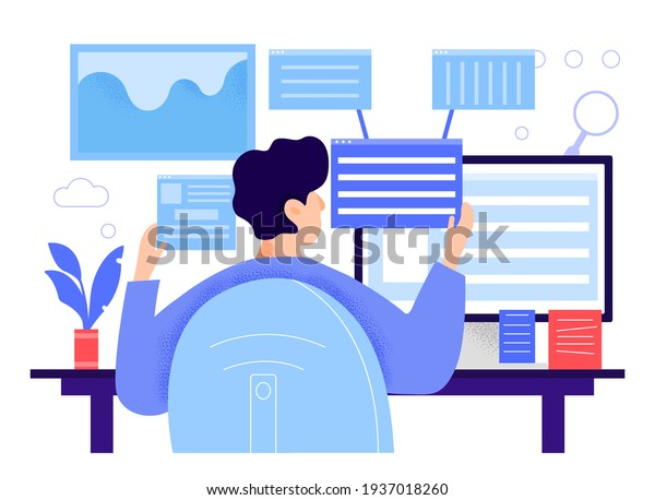 Male character sitting at desk and looking at backlinks. Man is checking web resource links from other website. Man is sitting in front of computer with media files. Flat cartoon vector illustration