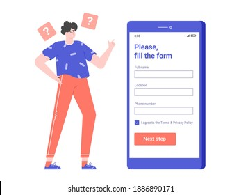 Male character stands next to a smartphone. Fills the registration form in the mobile application. Vector flat illustration.