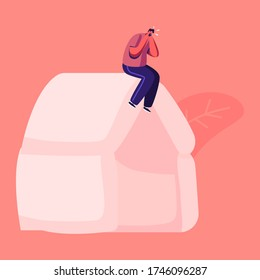 Male Character Suffering of Noise Pollution. Big City Social Problem of Much Hubbub on Street. Dweller Sitting on Roof Cover Ears to Stop Hearing Loud Sounds and Tinnitus. Cartoon Vector Illustration