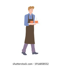 A male character waiter carries two cups of hot drink coffee or tea. Coffee shop, cafe or restaurant. Flat cartoon vector illustration isolated on a white background.