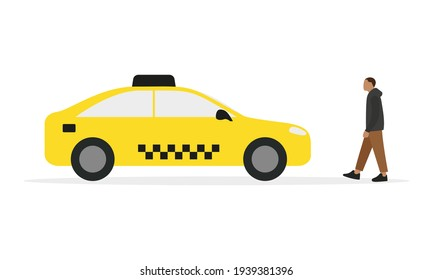 Male character walking towards yellow taxi on white background