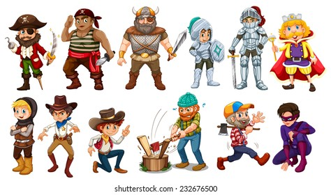 Male characters in different costumes