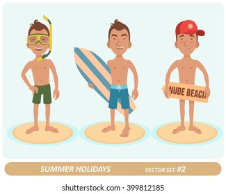Male characters on the beach. 3 characters. Man with swim mask. Man with a surfboard. Man in a cap on a nude beach. Vector illustration.