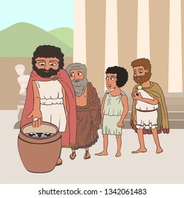male citizens voting in ancient greece by placing pebbles in urn, funny cartoon vector illustration of democracy origins