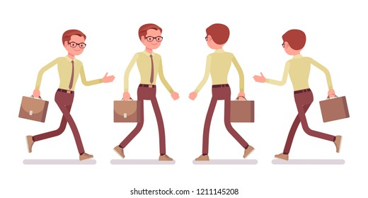 Male clerk walking, running. Young man, employee busy with message delivery, running errands, hurry at work. Business and office jobs concept. Vector flat style cartoon illustration, front, rear view