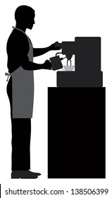 Male Coffee Barista Silhouette Making Espresso and Steaming Milk with Espresso Machine Vector Illustration
