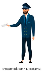 Male conductor isolated person. Man in uniform is standing in front view, holds checking tickets. Work by railway, boarding of passengers, transport infrastructure. Vector character illustration