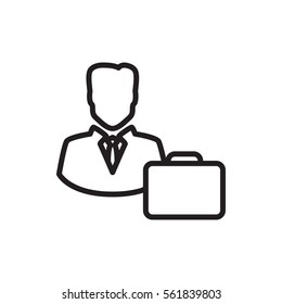 male consultant with case icon isolated vector sign symbol