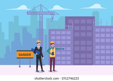 Male contractor and architect looking at the construction site building while wearing face mask